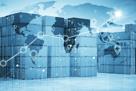 Businesss charts with Map global logistics partnership connection, Container Cargo background. Stock Photo