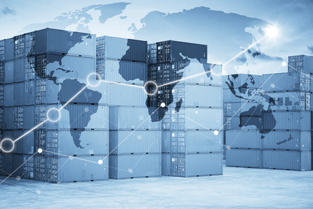 global logistics: Businesss charts with Map global logistics partnership connection, Container Cargo background. Stock Photo
