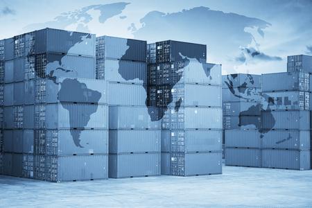 Carte connexion partenariat logistique mondial de conteneurs Navire cargo de fret pour la logistique Import Export fond Banque d'images - 67558345