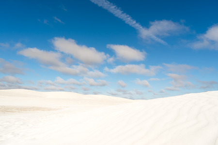 View of Lancelin Sand Dunes in Western Australia. This place for Surfing in Sand. Famous of Families enjoying. Landscape View . Stock Photo