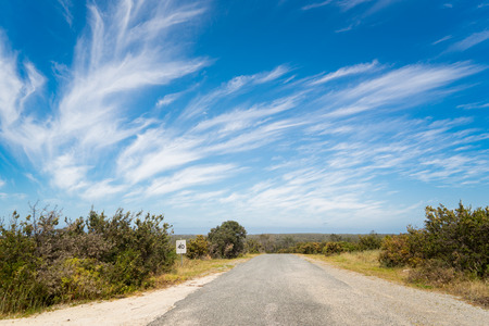 nowhere: Road to nowhere with blue sky and dramatic cloudy Stock Photo