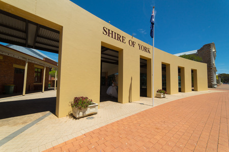 tree works: YORK, AUSTRALIA - November 7, 2016 : York Visitor Centre.  York is the oldest inland town in Western Australia . and is the seat of the Shire of York.