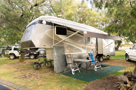 busselton: Busselton ,AUSTRALIA - NOVEMBER 11,2016 : Campsite with caravans in a morning light on the Busselton  ,Western Australia.