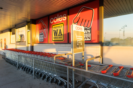 operates: PERTH, AUSTRALIA - November 4, 2016 : Coles Supermarkets is owned by Wesfarmers and operates more than 700 stores throughout Australia.