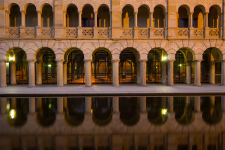 perth: PERTH, AUSTRALIA - November 5, 2016 : Corridor with water reflection on The University of WA . The University of Western Australia (UWA) is one of Australias leading universities Editorial