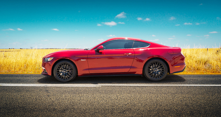 mustang gt: PERTH, AUSTRALIA - November 8, 2016 : Ford Mustang GT parked on road side with field of golden wheat background .