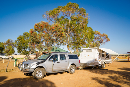 Hyden,AUSTRALIA - NOVEMBER 8,2016 : Campsite with caravans in a morning light in the Hyden ,Western Australia.