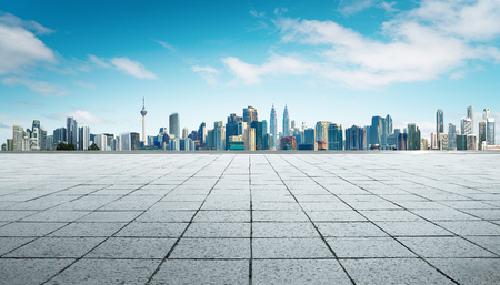 Cityscape and skyline with empty floor. Banque d'images