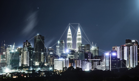 network connection: Network and Connection technology concept with city skyline , night scene .