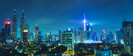 Network and Connection technology concept with city skyline , night scene .