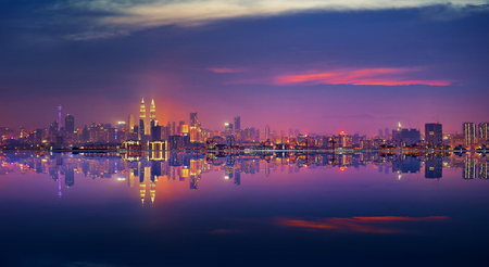 Panoramic view of Kuala Lumpur city waterfront skyline. Stock fotó