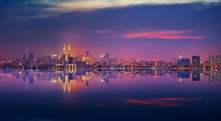 Panoramic view of Kuala Lumpur city waterfront skyline. Foto de archivo