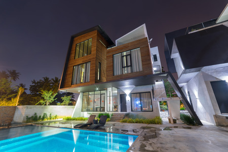 PORT DICKSON, MALAYSIA - FEB 04: Exterior of Villa L1638 on Feb 04, 2017 in Port Dickson, Malaysia. Villa L1638 is a modern and luxury home stay located 1km from Port Dickson Town .