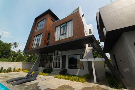 suburban neighborhood: PORT DICKSON, MALAYSIA - FEB 05: Exterior of Villa L1638 on Feb 05, 2017 in Port Dickson, Malaysia. Villa L1638 is a modern and luxury home stay located 1km from Port Dickson Town . Editorial