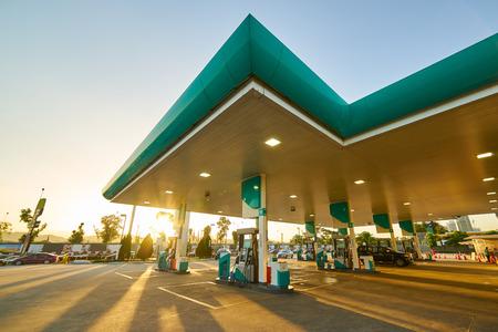 Gas station at sunrise morning . Zdjęcie Seryjne