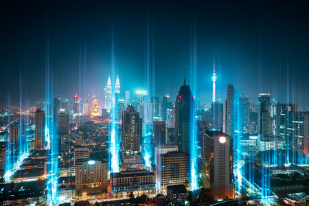 The network light came out from the ground ,modern city with wireless network connection concept , abstract communication technology image visual .