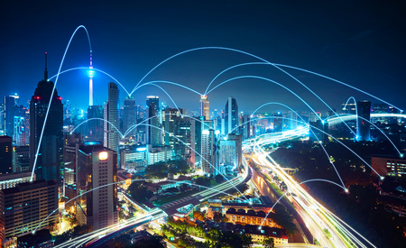 futuristic city: Modern cityscape and network connection concept . Stock Photo