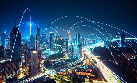 Modern cityscape and network connection concept . Foto de archivo