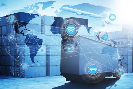 Mapa conexión de la asociación global de la logística de la nave de la carga de carga del envase para el fondo Logística Importación y Exportación