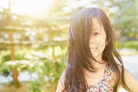 Close Up portrait, young little rascals asian girl . Stock Photo