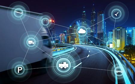 La ciudad de Morden y el transporte inteligente y la red de comunicación inteligente de las cosas, las tecnologías de conexión inalámbrica para las empresas. Foto de archivo
