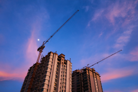 reinforcement: Construction of a unfinished high raised buildings residential area. Stock Photo