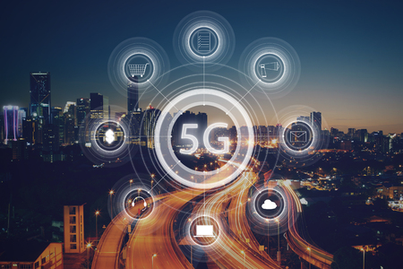 5G network wireless systems and internet of things with modern city skyline. Smart city and communication network concept .