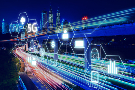 5G network wireless systems and internet of things with light trail of traffic in Kuala Lumpur .