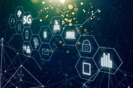 5G network wireless systems and internet of things with abstract bokeh and dot  connection background . 版權商用圖片
