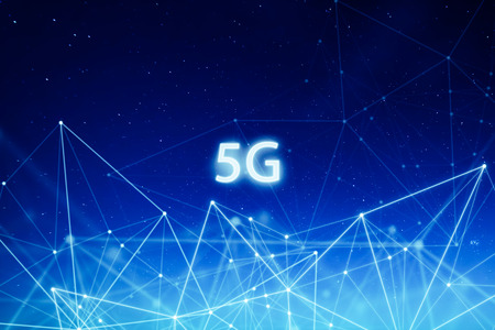 5G network wireless systems and internet of things with abstract connected dots wireless communication network on space background .
