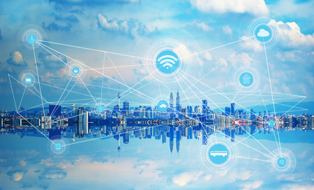 Smart city and wireless communication network, abstract image visual, internet of things . Archivio Fotografico