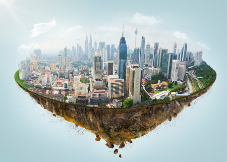 Fantasy island floating in the air with modern city skyline .
