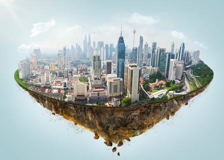 Fantasy wyspa unosząca się w powietrzu z nowoczesną panoramą miasta.