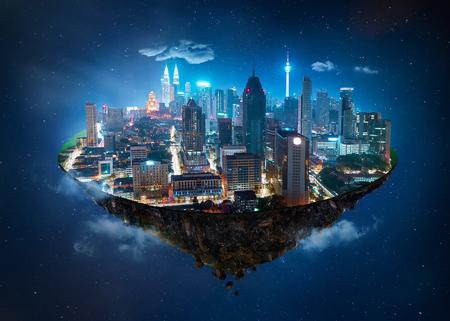 Ilha da fantasia que flutua no ar com skyline moderna da cidade e jardim do lago, cena da noite.