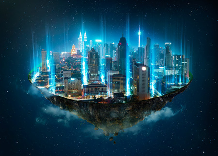 Fantasy island floating in the air with network light came out from the ground  , Smart city and wireless network connection concept . Stok Fotoğraf