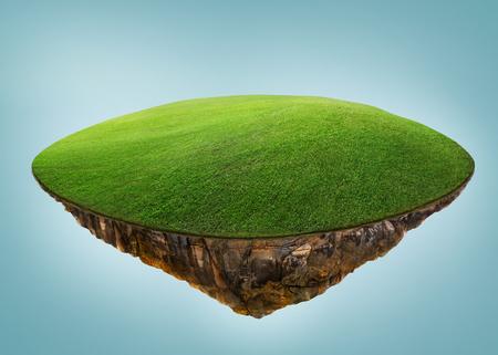 Île fantaisie flottant dans les airs avec champ vert. Isolé sur fond bleu clair. Banque d'images