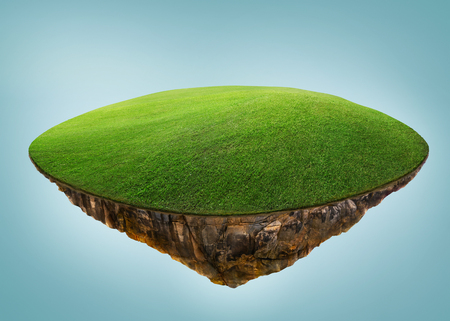 Fantasy island floating in the air with green field . Isolated on light blue background .