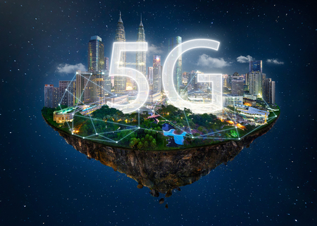 Fantasy island floating in the air with 5G network wireless systems and internet of things , Smart city and communication network concept . Stock Photo