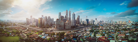 Panorama cityscape view in the middle of Kuala Lumpur city center , early morning with little mist , Malaysia . Zdjęcie Seryjne - 95290983