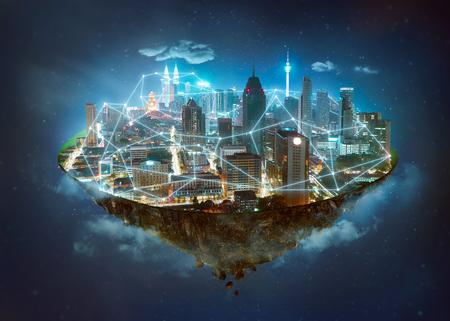 Isla de fantasía flotando en el aire con sistemas inalámbricos de red e internet de las cosas, ciudad inteligente y concepto de red de comunicación. Foto de archivo