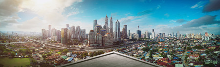 Open space balcony with Kuala Lumpur cityscape skyline view  . Archivio Fotografico