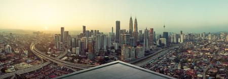 Open space balcony with Kuala Lumpur cityscape skyline view  . Stock Photo
