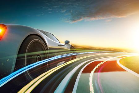 光効果とモーションブラーを持つブランドレスグレーのスポーツカーの3Dレンダリング.レーストラックの背景.夕焼けシーン. 写真素材 - 97431582