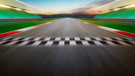 View of the infinity empty asphalt international race track .Night scene . Stock Photo
