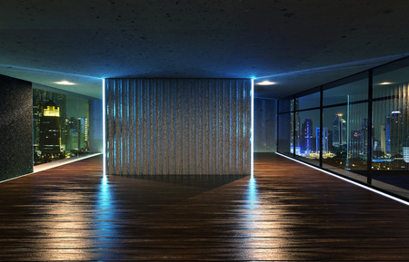 Perspective view of empty wood floor and cement ceiling interior with city skyline view . 3D rendering and real images mixed media .