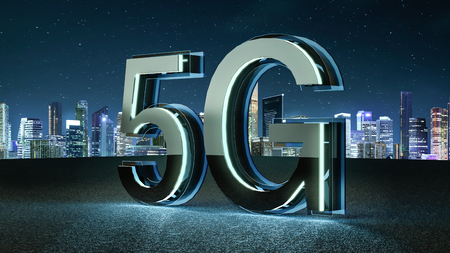 3D Render 5G futuristic font with blue neon light . Mobile network speed communication technology concept . 스톡 콘텐츠