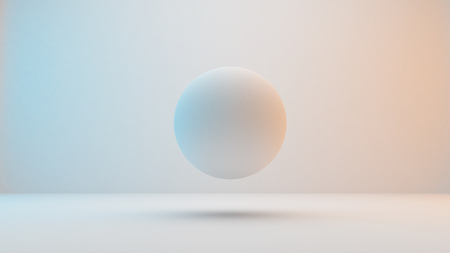 Milky white spheres floating on white background with slightly blue and orange lighting . 3D Rendering