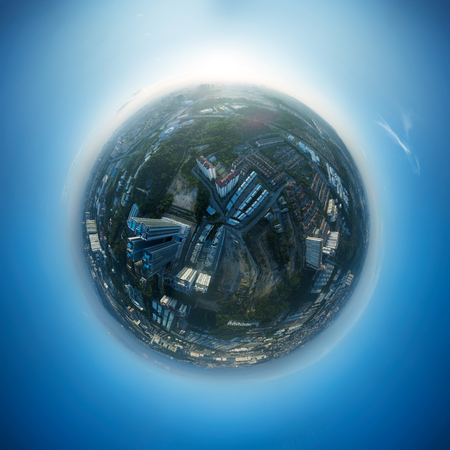 Panorama 360 degree sphere view of cityscape with sky . Stock Photo