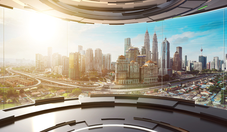 Futuristic interior design empty space room with large windows and city urban landscape . 3d illustration rendering . Mixed media . Standard-Bild