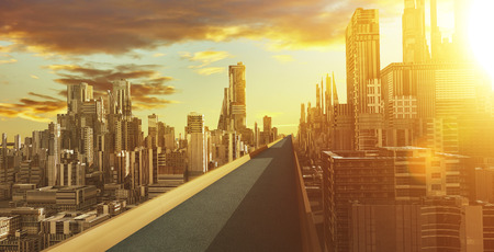 Highway overpass with futuristic sci-fi city and commercial office building . 3d illustration rendering .